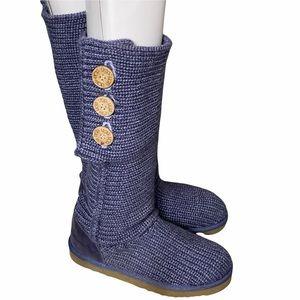 UGG Classic Cardy Boots Purple Knit Size 8 EUC